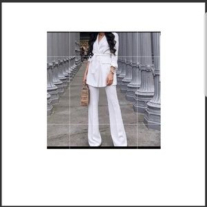 Zara belted white blazers with Pant